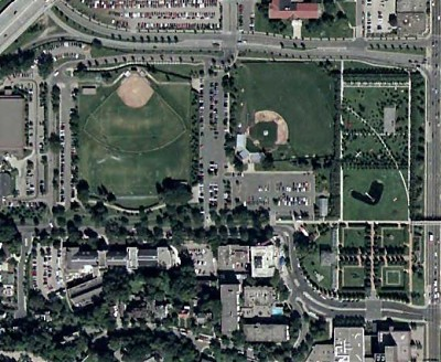 Aerial view of Parade Park and Minneapolis Sculpture Garden, courtesy Google Maps