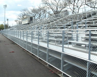 New fencing runs the length of the stands