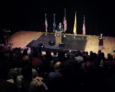 Mayor Coleman speaks to a full house at Monday's address